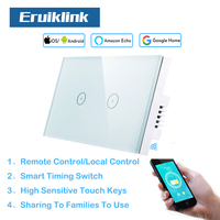 Eruiklink WiFi 2 Gang US Standard Glass Panel Touch Light Switches Wall Smart Light switches works with Alexa for Smart Home