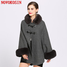 2018 Solid Women Faux Rabbit Fur Collar Cardigan Winter Warm Thick Long Batwing Sleeves Poncho Plus Size Ladies Hairy Coat цена
