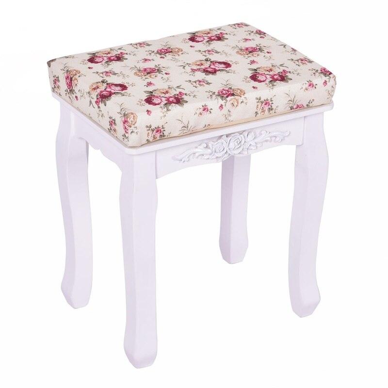 Blanc rembourré vanité tabouret Piano siège pin bois MDF panneau fleur coussin campagne en bois tabouret HB84672