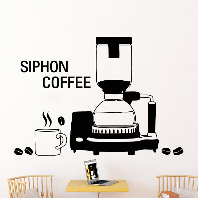Coffee Shop Vinyl Wall Decal Coffee Machine Cafe Cup Quote