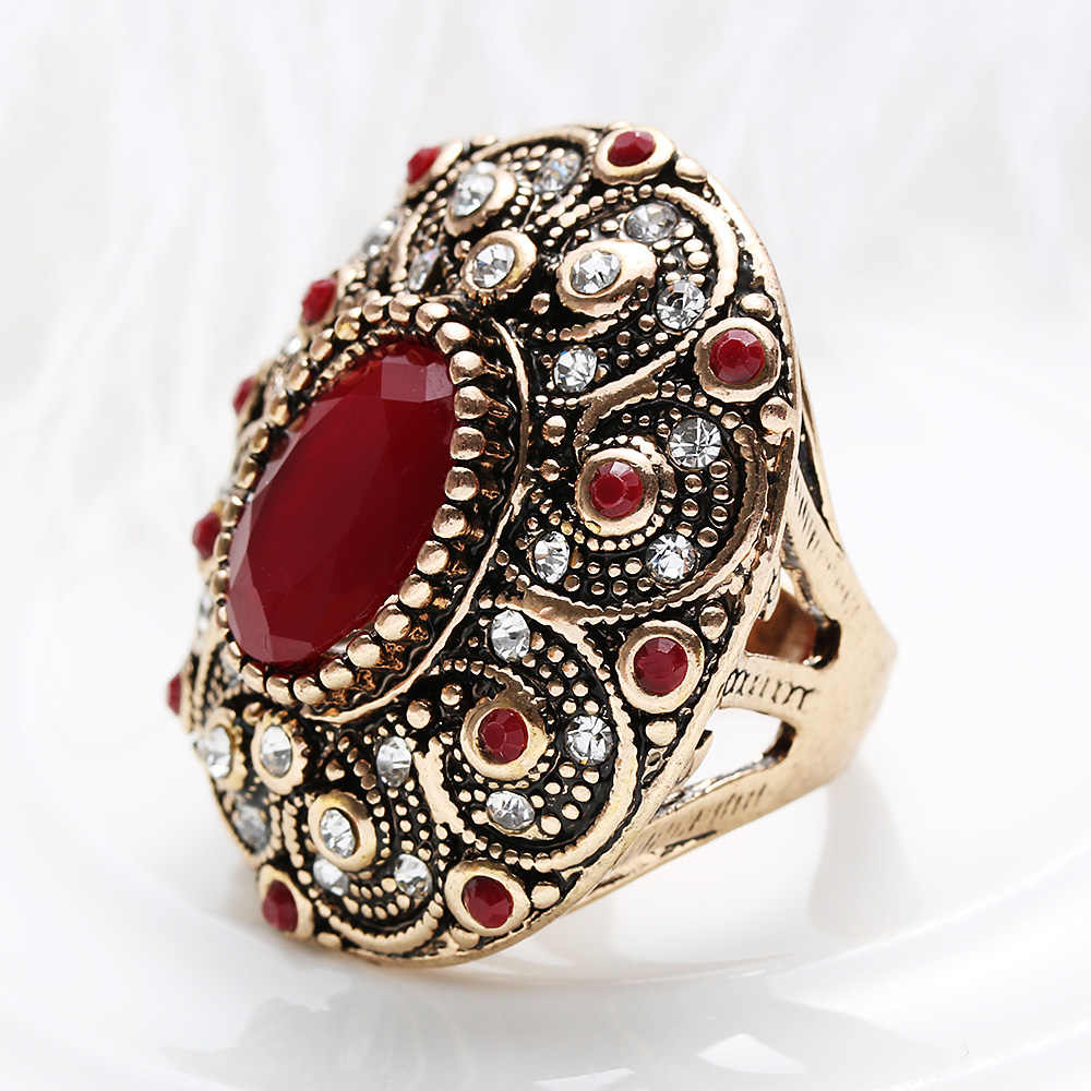 1PC Vintage Retro Mosaic Resin Crystal Oval Shaped Ancient Sliver Color  Turkey Rings For Women Men b3f954cdc0cc