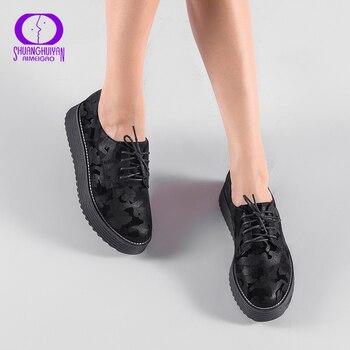 AIMEIGAO/Демисезонная обувь на плоской платформе со шнуровкой, женская повседневная обувь на толстой подошве, женская обувь с перфорацией типа ...