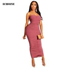 Slim Bodycon Fold Maxi Dress Sexy Strapless Evening Party Dress Sleeveless Backless Long Dress Femme Robe Vestidos цены
