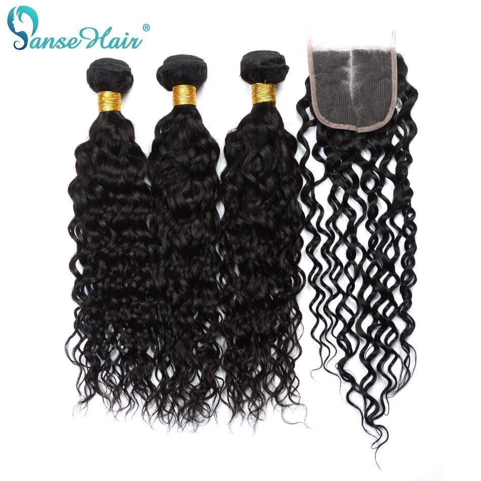 Panse волос перуанские пучки волос с закрытием волна воды 3 Связки Номера для человеческих волос пучки натуральный черный Цвет может быть окра...