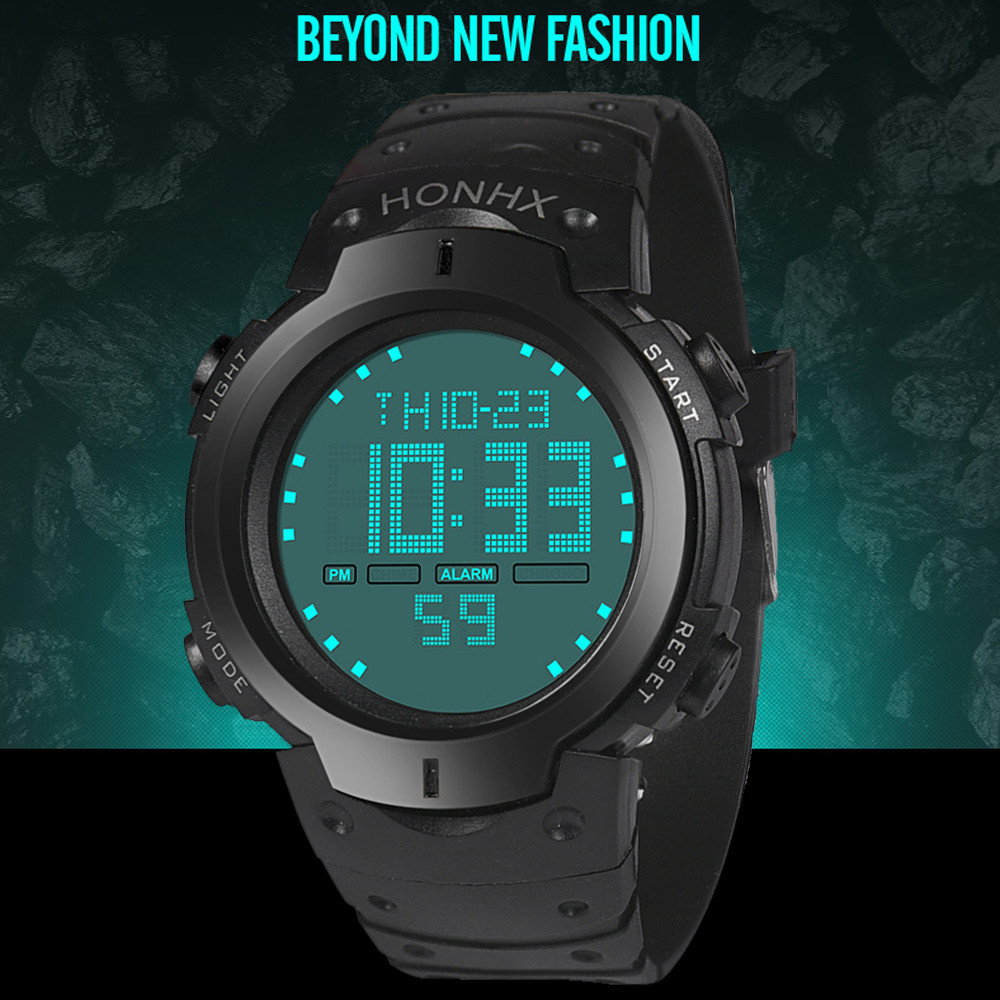 Digital Watch Men Women Relogio Sport Waterproof Men's Boy LCD Digital Stopwatch Date Rubber Sport Wrist Watch 2018