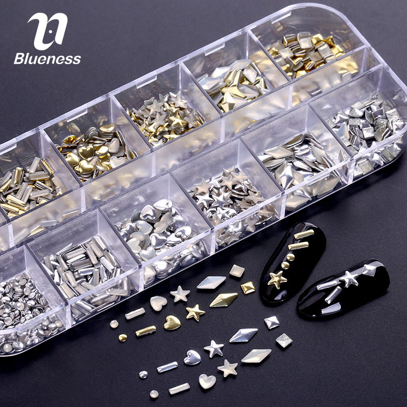 Rectangular Box Shiny Gold Silver 3D Nails Rivet Tips Glitter Nail Art Studs Decorations ZP062 Rhinestones For Nails manicure 10g box clear nail caviar micro beads 3d glitter mini beans tiny tips decorations diy nail art rhinestones manicure accessories