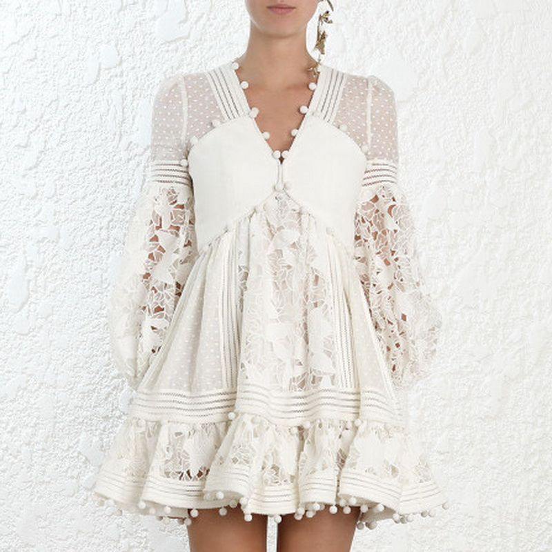 Donna Scollo A Donne Di Della Moda V Lunga Nappa Abiti Per Eleganti Primavera Vestito Rappezzatura Le Mini Ha001 Bianco Manica 2019 Ywn6xaw