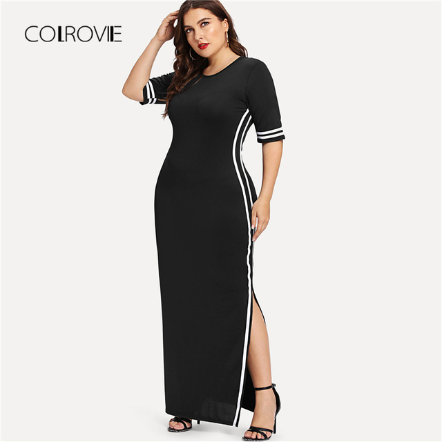 783bb7317 COLROVIE Plus Size Listrado Preto Fita Detalhe Malha Dividir Vestido Maxi  2018 Outono Borgonha Sólido Elástico