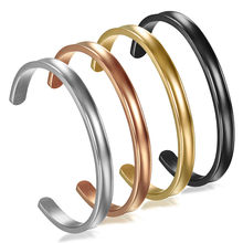 Boniskiss Gold Bangles Customized Jewelry Stainless Steel 6mm Women Cuff Bracelet Couple Bangle For Women(China)