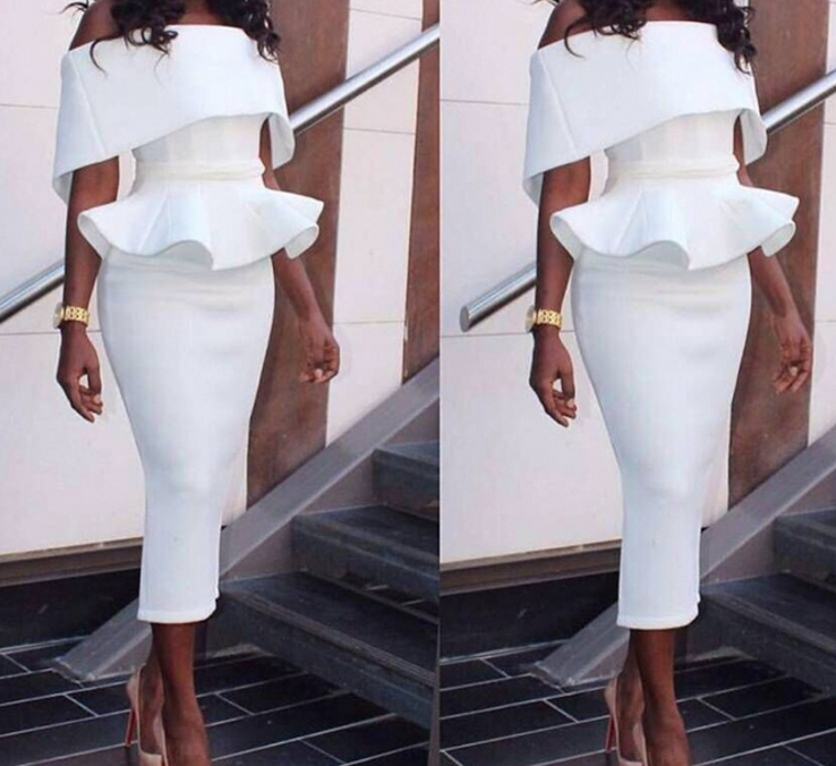 Vestidos Real Photo Off the Shoulder Cocktail Dresses 2020 Tea Length Split Party Dresses Formal Prom Party Gowns rode de soriee