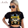ArtSu Sexy Hole Crop Top Women 2017 Skull Print Short Sleeve T-shirt  T Shirt Top Tee Shirt Femme T-Shirt Tops Clothes ASTS50039