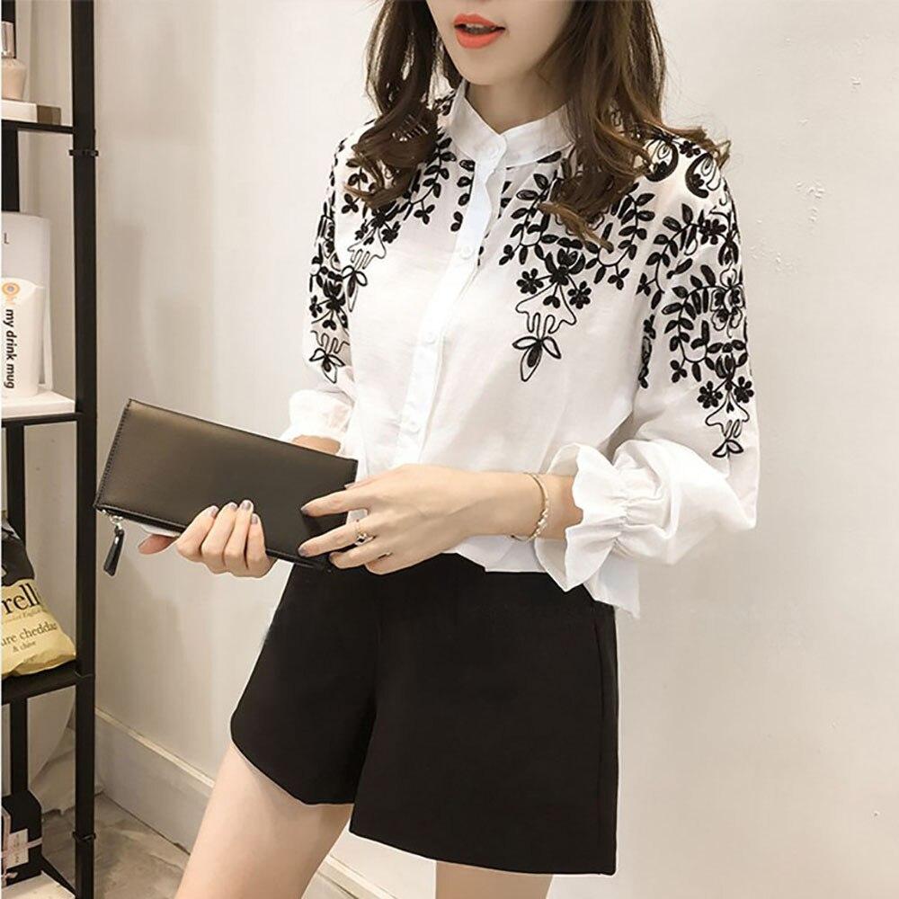 2ca771a68d Mujer Plus tamaño Floral bordado blusa camisa 2019 mujeres ropa de ...