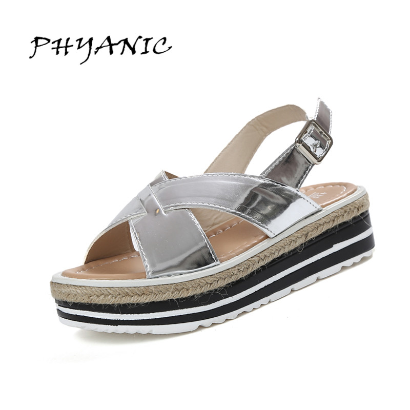 PHYANIC 2017 Summer Gladiator Sandals Straw Platform Creepers Silver Shoes Woman Buckle Casual Women Flats Shoes PHY4046 2017 summer new rivet wedges sandals creepers women high heel platform casual shoes silver women gladiator sandals zapatos mujer