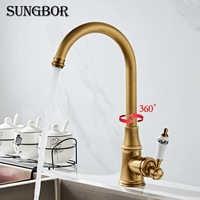 Kitchen Faucet Antique Brushed Porcelain Handle Faucet Hot Cold Mixer Basin Tap Luxury Faucet 360 Swivel CF-9098F