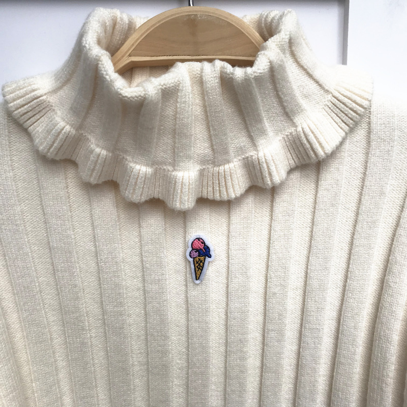 Turtlenect Picture Casual Knitting Pullovers Sleeve Color Patch Embroidery Sweaters Women Long Autumn And UxPOz