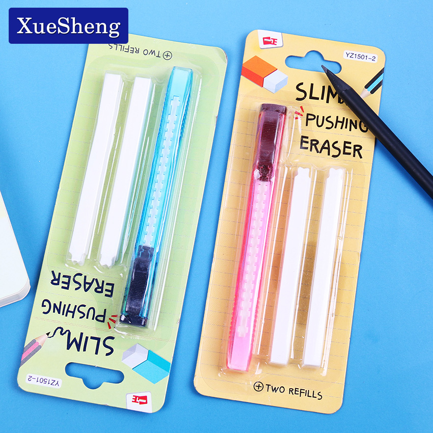 1 Set Scalable Refills Eraser Knife Shape Rubber Eraser Set Have Two Refills Office School Cute School Material Office Supplies