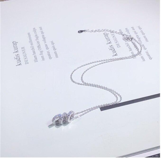 3 cercles pendentif O chaîne collier Zircon cubique 925 argent Sterling mobile Vintage femmes bijoux de mariage de haute qualité