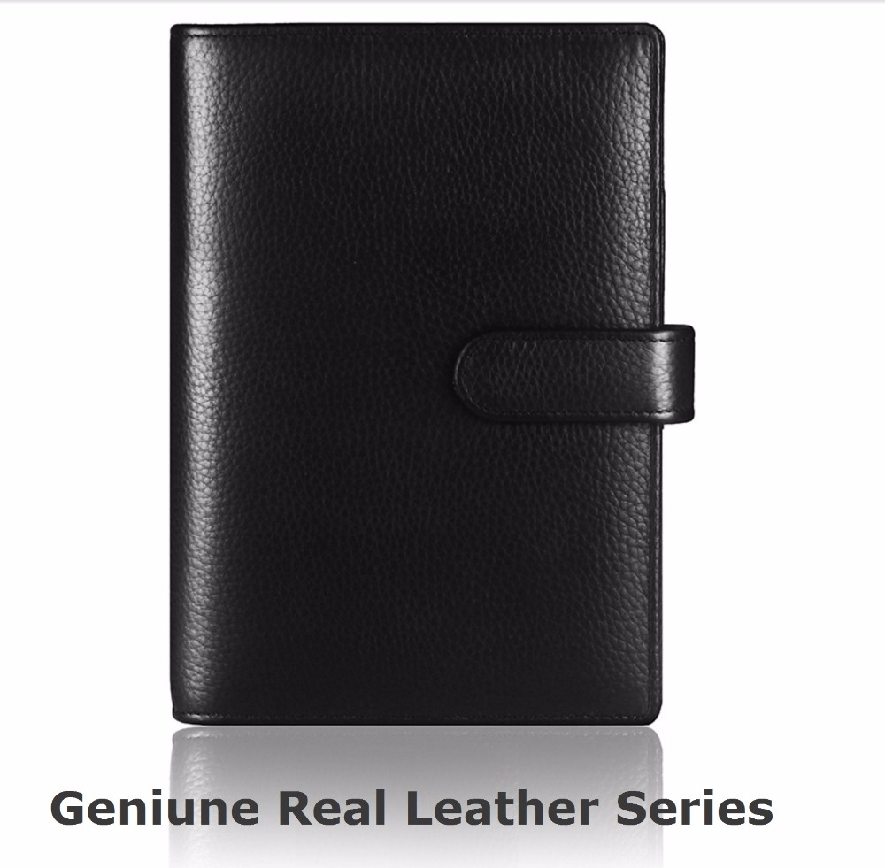 Genuine Leather Planner A4 B5 A5 A6 A7 File Folder Manager Document Bag Hasp Conference  With Spiral Binder