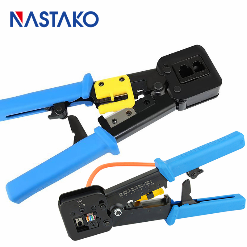 NASTAKO Network tools EZ RJ45 crimper RJ12 cat5 cat6 8p8c Cable Stripper pressing clamp rj45 pliers tongs clip multifunction