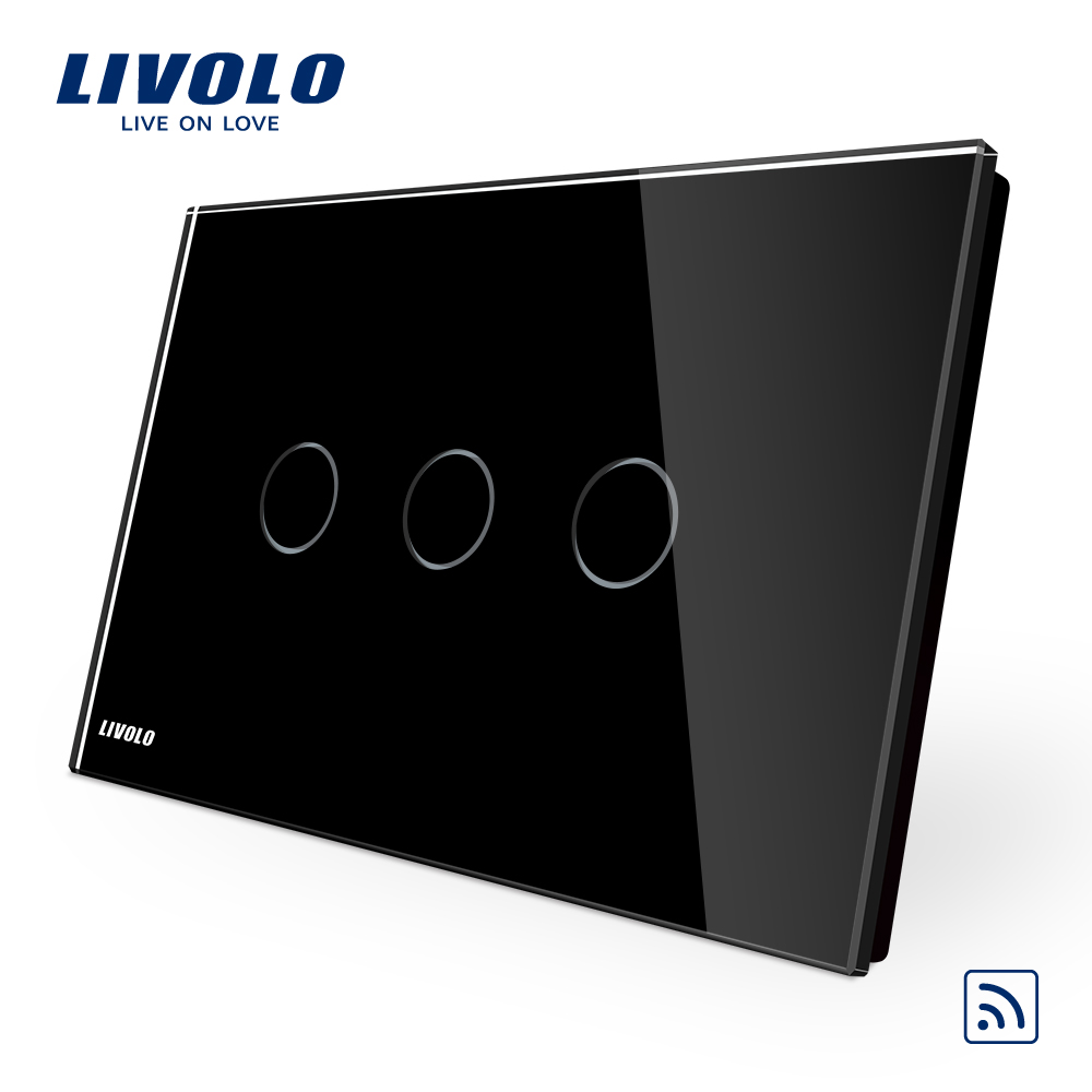 Livolo Manufacturer AU/US standard Remote Switch, 3gang 1way , VL-C903R-12 ,AC 110~250V wireless rf switch. manufacturer  smart switch us au