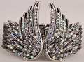 Крылья ангела перо браслет женщины байкер ювелирные изделия античное золото и серебро покрытием W/кристалл оптовая dropshipping D01