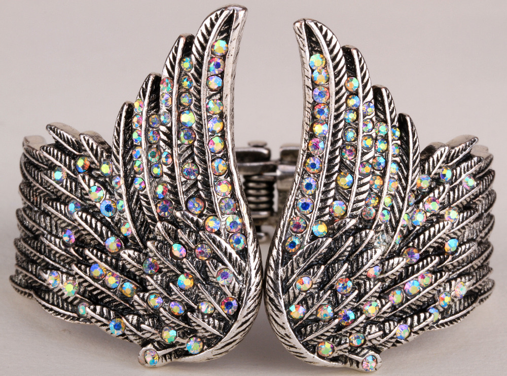 Angel wings feather bracelet women biker jewelry antique gold silver plated W crystal wholesale dropshipping D01