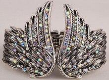 Alas de ángel pluma pulsera mujeres joyería del motorista antique gold & silver plated W/cristal al por mayor dropshipping D01