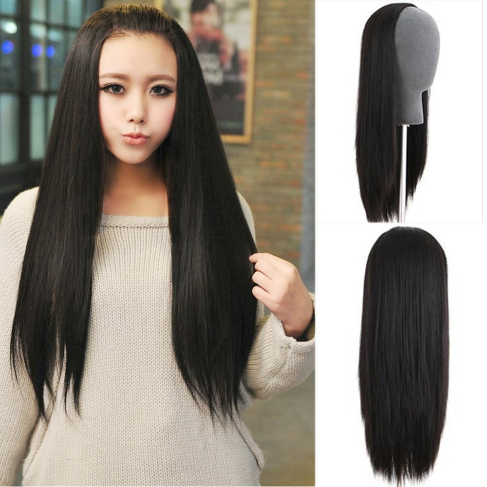 women weave fashion black wig long straight hair fall clips in on half wig 2527a9431b