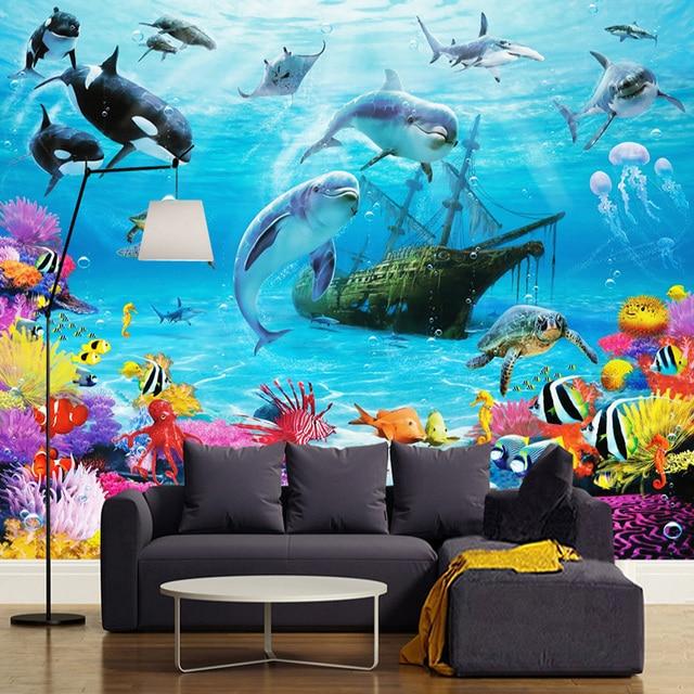 3d cartoon unterwasserwelt wandbild tapete personalisierte anpassung kinderzimmer. Black Bedroom Furniture Sets. Home Design Ideas