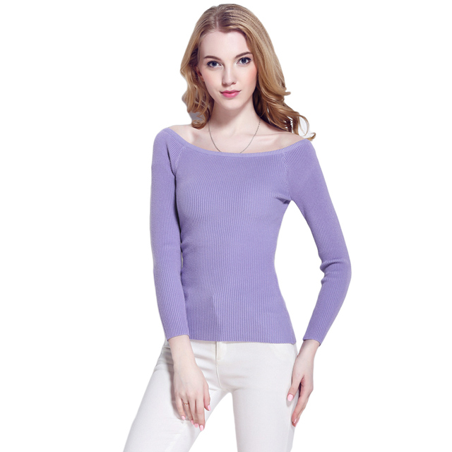 Autumn Basic Sweater Women Slash Neck Jersey Mujer Solid Knitted Slim Fashion Pullover Thin Long Sleeve Off Shoulder Sweater Top