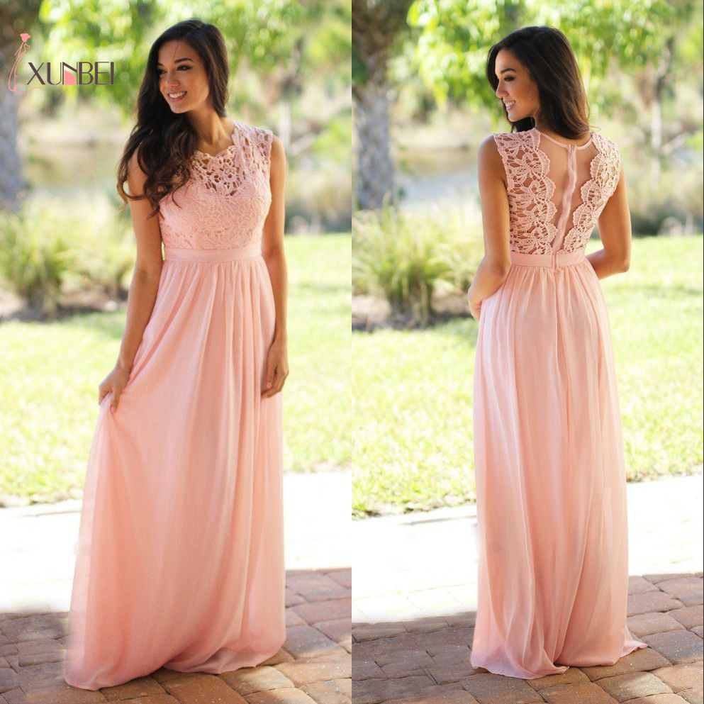 Robe demoiselle d'honneur Country Style Mint Green Long Lace   Bridesmaid     Dresses   2019 Chiffon Prom   Dresses   Wedding Party Gown