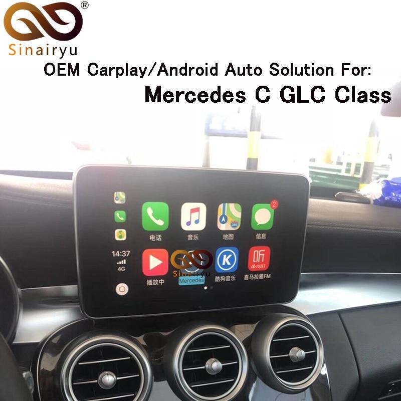 Sinairyu 2019 Nouveau IOS Voiture Apple Airplay Android Auto Boîte CarPlay Pour Benz Un B C CLA GLA GLC GLE classe 15-17 NTG 5.0 OS Système