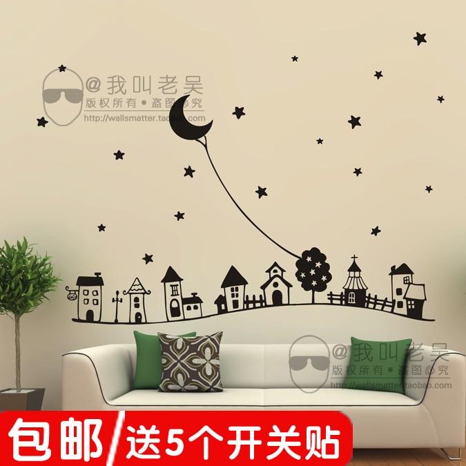 He Night Sky Kindergarten School Childrenu0027s Room Wall Stickers Affixed  Decorative Stickers Living Room Bedroom Bed G0162 In Wall Stickers From  Home U0026 Garden ...