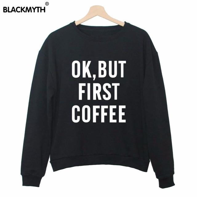 Trui Zwart Wit.Ok Maar Eerst Koffie Letters Sweater Vrouwen Trui Zwart Wit Casual