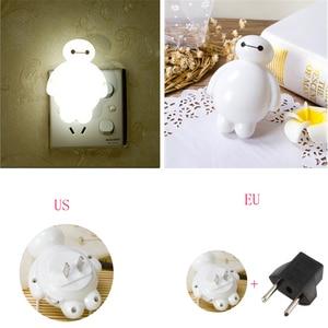 Image 5 - Top Baymax Cartoon night light lamp 110V 220V US EU plug baby room led energy saving lamp kids light bedside lamp lighting