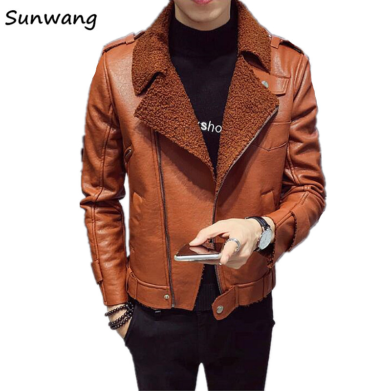 2019 Harajuku Fashion Oblique Zipper Mens Leather Jackets Winter Faux Fur Coat Men Thick Warm Motorcycle Suede Leather Jacket мужские кожанные куртки с косой молнией