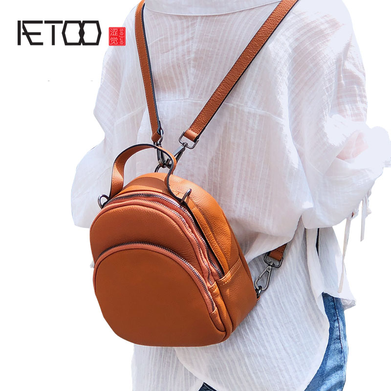 AETOO New Korean cowhide leather mini shoulder bag female simple first layer leather small backpack casual travel small bag недорого
