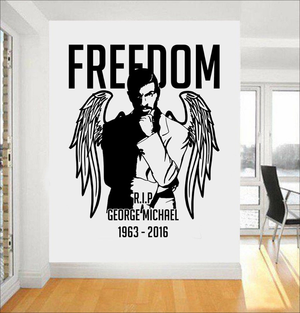 Wall decal new york letter frame cheap stickers world discount - Vintage Home Decoration Wall Decal George Michael Wall Art Sticker Freedom Cd Stickers Muraux Beding Room
