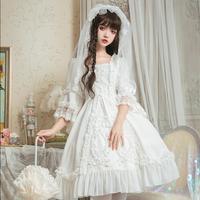 Белые милые платья платье в стиле «Лолита» в ретро стиле с квадратным воротником и принтом элегантное платье в викторианском стиле с рукава
