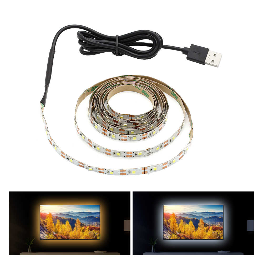 USB Powered 50CM 1M 2M 3M 4M 5M LED Strip Light DC 5V Flexible Lamp SMD 2835 Christmas Decor Tape For TV Background Lighting