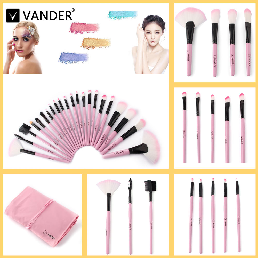 VANDER Professional 22Pcs Makeup Brush Set Beauty Cosmetic Maquiagem Brushes Pinceaux Kabuki Make Up Kits + Pouch Bag Pink