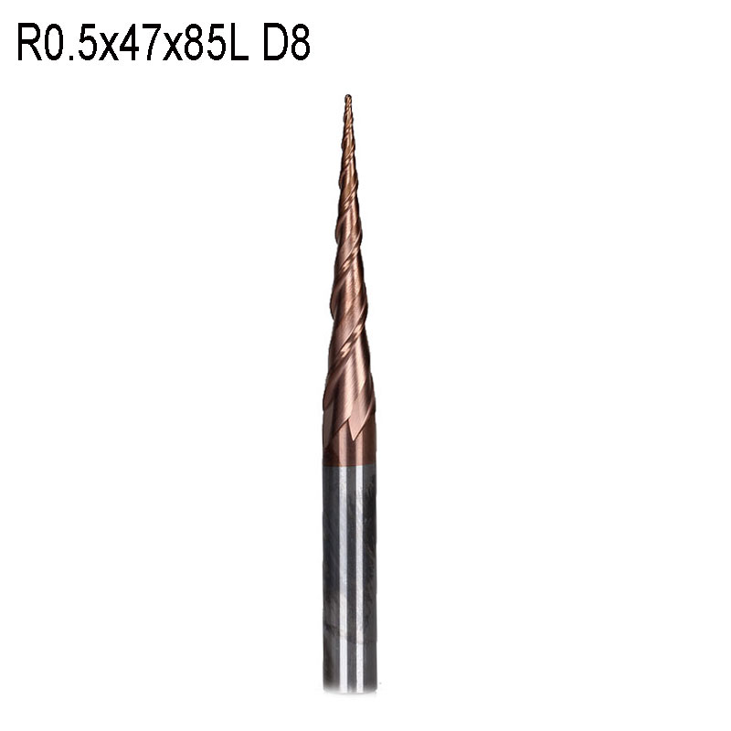 R0.5*D8*47*85L*2F Dia 8mm tungsten carbide Ball Nose cone type Tapered End Mill cnc milling cutter tools router bit 2pcs hrc55 tungsten steel carbide double 2 flute end mill bit milling cutter tools ball nose cnc router r4 16 d8 75mm