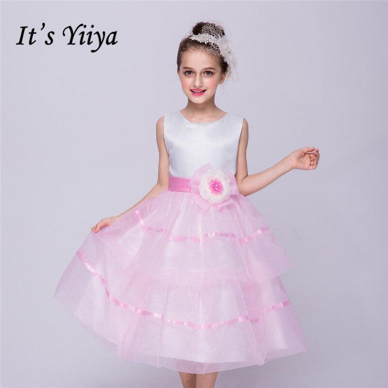 It's yiiya Fashion Sleeveless   Flower     Girl     Dresses   Patchwork Princess Ball Grown O-neck Lace   Girls     Dress   L084