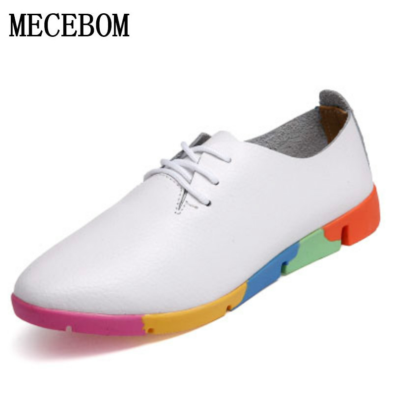 Autumn spring new lace-up leather women flat white shoes pointed toe deep mouth soft bottom leisure colorful shoes woman 910W the spring and autumn new white shoe leather strap female flat shoes pointed deep soft bottom shoes casual student