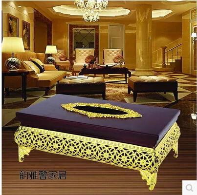 European Luxury Gold Silver Plated Metal Tissue Boxe Wood Napkin Holder Box Cover Home