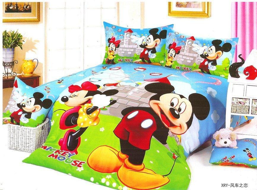 blue mickey mouse football bedding sets single twin size bedclothes ...
