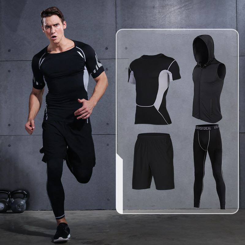 2017 New Men Compression Running Suits Quick Dry Basketball Sport Underwear Clothes 4 Pieces/Sets Gym Fitness Jogging Tracksuits one lux acrylic occasional sofa end z table lucite plexiglass small coffee tea magazine tables various colors