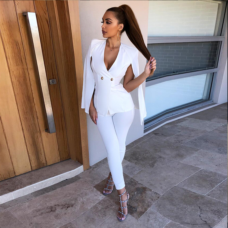 Adyce Celebrity Runway   Jumpsuit   Women 2019 Black White Deep V-Neck Half Batwing Sleeve Rompers   Jumpsuit   Sexy Bodycon Bodysuits
