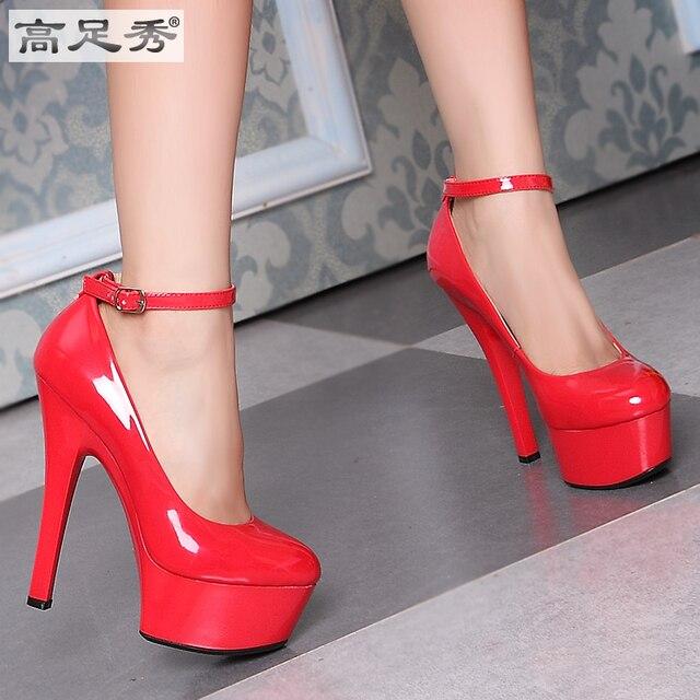 a basso prezzo 31489 506f7 US $65.99 | 2015 size 34 43 moda donna scarpe col tacco alto della signora  pompe modelli passerella modelli vernice impermeabile scarpe bocca ...