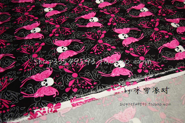 f3d0b81168f 140X100cm Black Background White Skull with Hot Pink Butterfly Wings Cotton  Fabric for Clothes Sewing Patchwork DIY AFCK059-in Fabric from Home &  Garden on ...